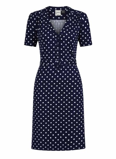 Jade Polka Dot Print Jersey Dress Product Front