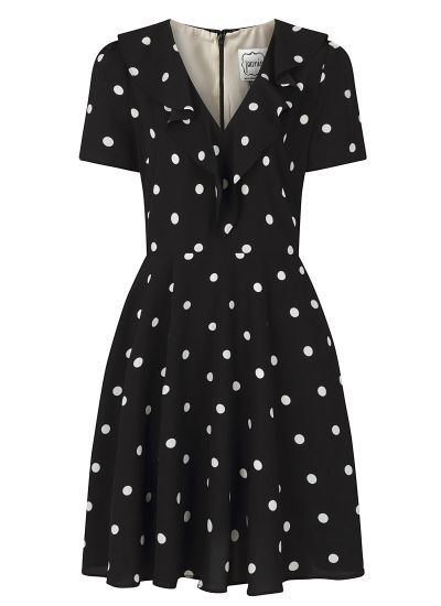 January Frill Neck Polka Dot Tea Dress - Black