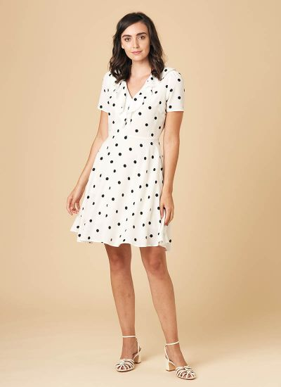 January Frill Neck Polka Dot Tea Dress - White