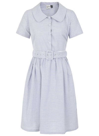Jean Stripe Shirt Dress - Blue
