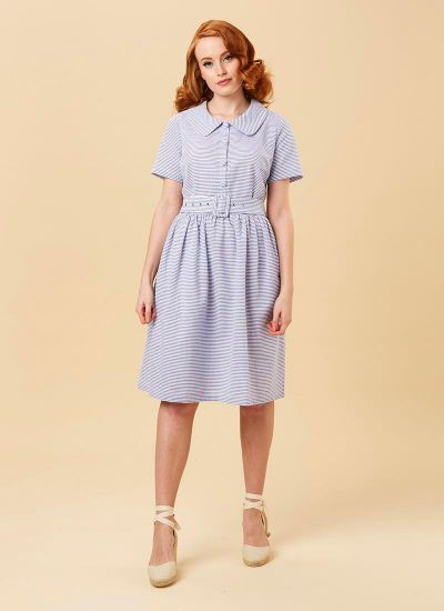 Jean Blue Stripe Shirt Dress Model Front