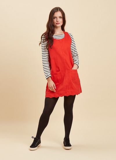 Jennifer Scallop Edge Pinafore Dress Red Full Front