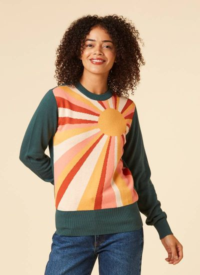 Jocelyn Soulful Sunray Intarsia Jumper Model Front