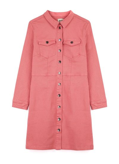 Julie Denim Shirt Dress - Pink