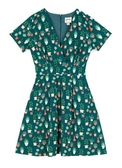 Julietta EcoVero™ Potted Plant Print Tea Dress