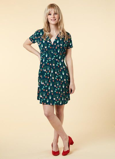 Julietta EcoVero™ Potted Plant Print Tea Dress Model Front