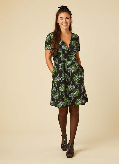 Julietta Floral Fern Print Tea Dress Model Front