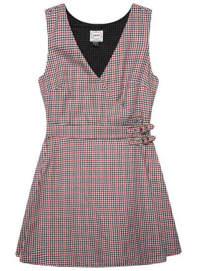 Kilty Dogtooth Check Pinafore Dress