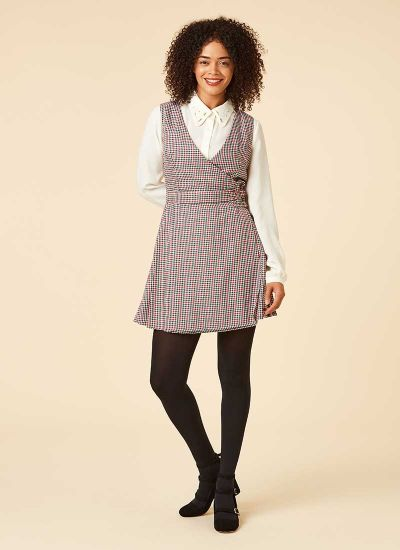 Kilty Dogtooth Check Pinafore Dress Model Front