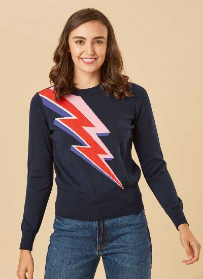 Kim Lightning Bolt Intarsia Jumper Model