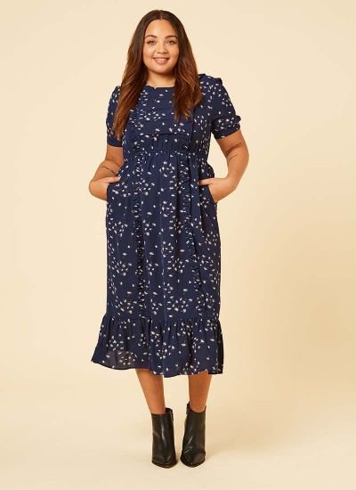 Kirsten Dandelion Print Prairie Midi Dress Navy Model Front