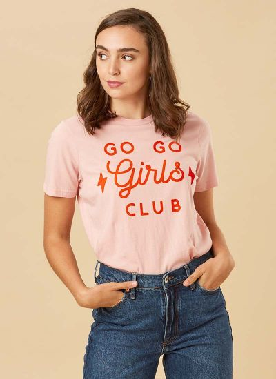 Lada Girls Club Slogan Tee Model Close-Up