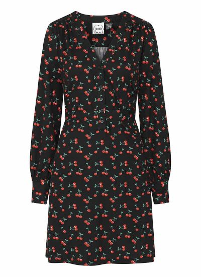 Lenore Cherry Print Jersey Dress Product Front