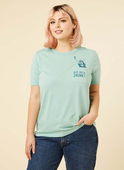 Liberty Buy Me A Drink Slogan Pocket Tee