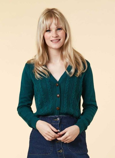 Linda Teal Cable Knit Cardigan Model Front