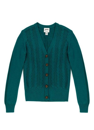 Linda Cable Knit Cardigan - Teal