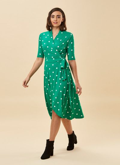 Lotta Green Polka Dot Jersey Wrap Dress