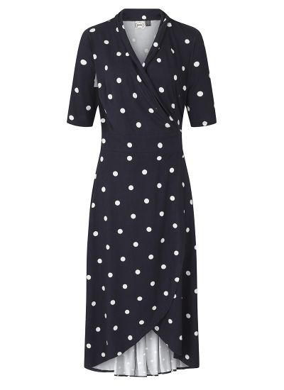 Lotta Navy Polka Dot Jersey Wrap Dress Product Front