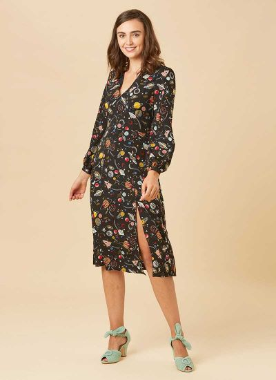 Lucid Space Print Midi Dress Model Front