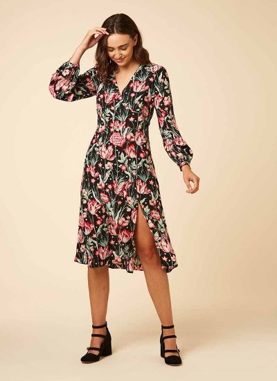 Lucid Dark Floral Star Print Midi Dress New Model
