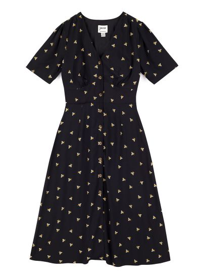 Manon EcoVero™ Bee Print Button-Through Shirt Dress
