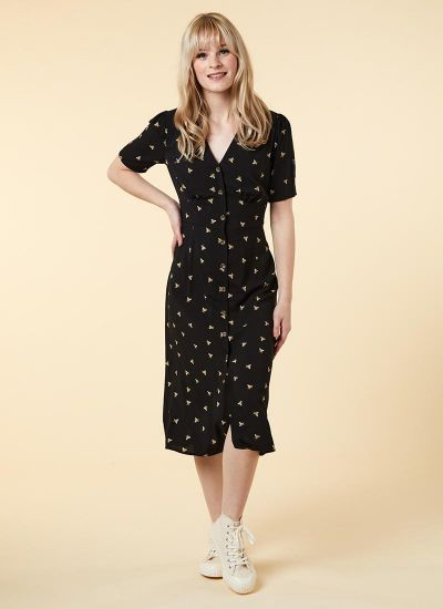 Manon EcoVero™ Bee Print Button-Through Shirt Dress Model Front