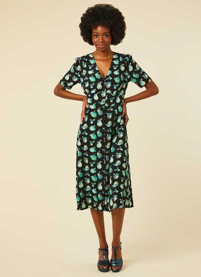 Manon EcoVero™ Fruit Print Button-Through Shirt Dress Model Front