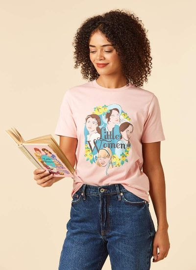 March Little Women Illustration Print Tee Model Front
