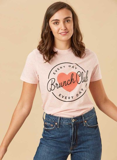 Margot Pink Brunch Club Tee Model Close-Up