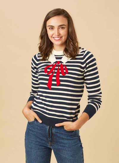 Mariner Trompe L'Oeil Sailor Collar Jumper Model Close-Up