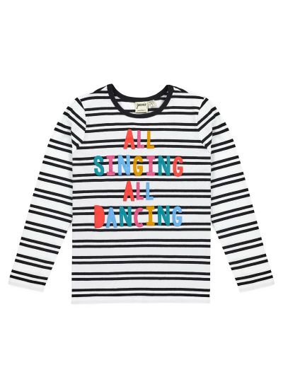 Melody Colourful Stripe Slogan Top