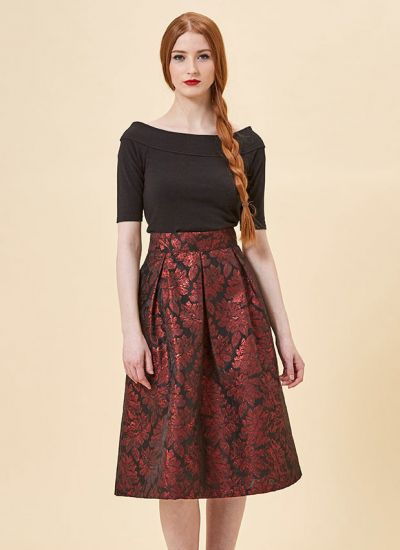 Mia Floral Jacquard Full Skirt - Red