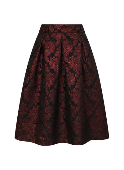 Mia Red Jacquard Floral Skirt