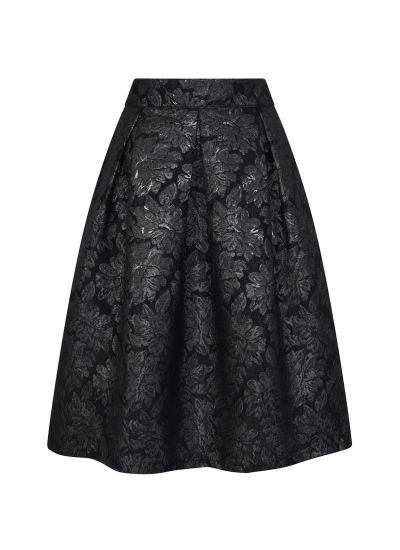 Mia Black Floral Jacquard Full Skirt Product Front
