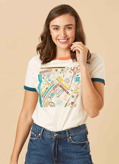 Michael Stationery Print Ringer Tee Close-Up