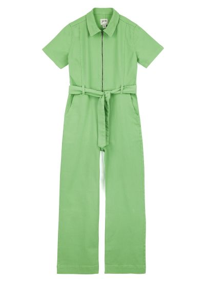 Mork Denim Short Sleeve Boilersuit - Green