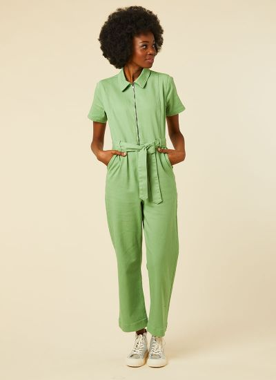 Mork Green Denim Short Sleeve Boilersuit Model Front