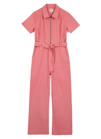 Mork Denim Short Sleeve Boilersuit - Pink
