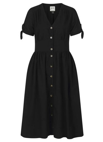 Natalie Button-Through Cotton Tea Dress - Black
