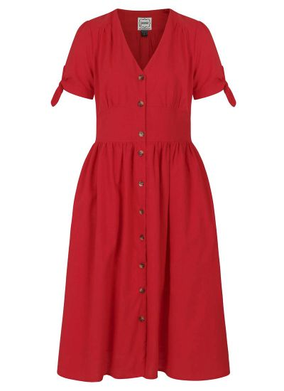 Natalie Red Button-Through Cotton Tea Dress Product Front
