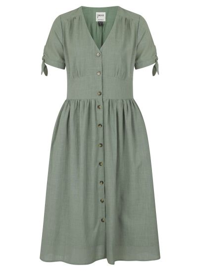 Natalie Button-Through Cotton Tea Dress - Green