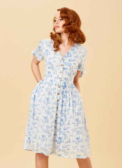 Natalie Toile De Jouy Print Tea Dress - Blue