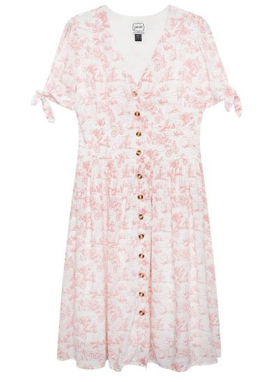 Natalie Pink Toile De Jouy Print Tea Dress Product Front