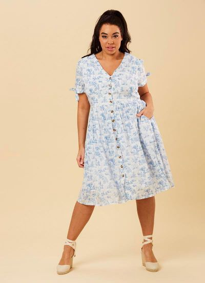 Natalie Blue Toile De Jouy Print Tea Dress Model Full