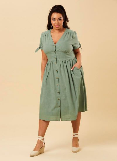 Natalie Green Button-Through Cotton Tea Dress Model Front
