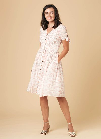 Natalie Toile De Jouy Print Tea Dress - Pink