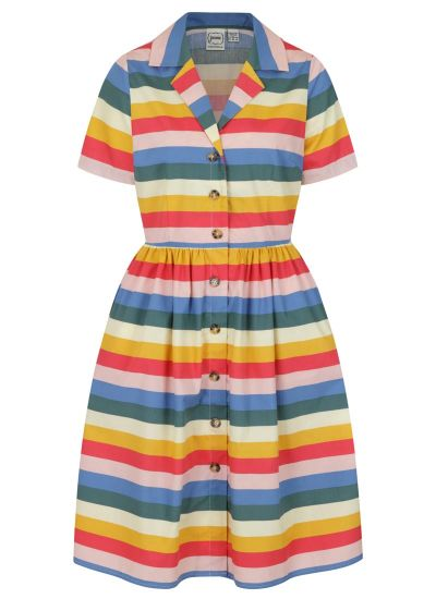 Montana Rainbow Stripe Cotton Shirt Dress Product Front