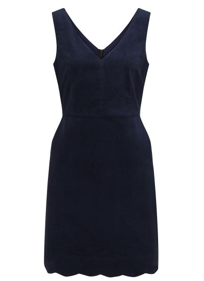 Olive Navy Velveteen Scallop Pinafore Dress