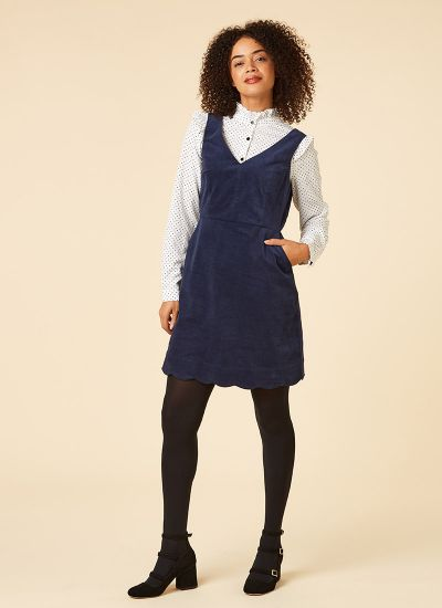 Olive Navy Velveteen Scallop Pinafore Dress Model Front