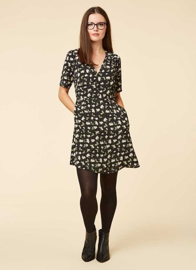 Otillie Black Ditsy Floral Print Tea Dress